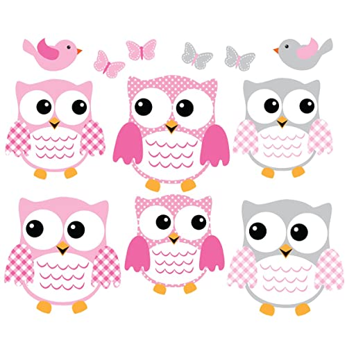 Owl Decals Pink and Gray Owl Wall Stickers Nursery Wall Art