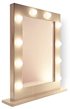 miroir pour maquillage et loge de th tre blanc k113 hollywood. Black Bedroom Furniture Sets. Home Design Ideas