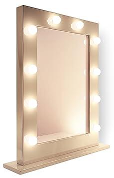 Miroir pour maquillage et loge de th tre blanc k113 for Miroir de loge pas cher