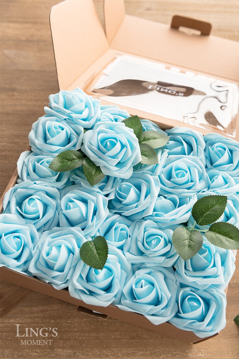 Lings moment Artificial Flowers Blue Roses 50pcs Real Looking Fake Roses w/Stem for DIY Wedding Bouquets Centerpieces Arrangements Party Baby Shower Home Decorations