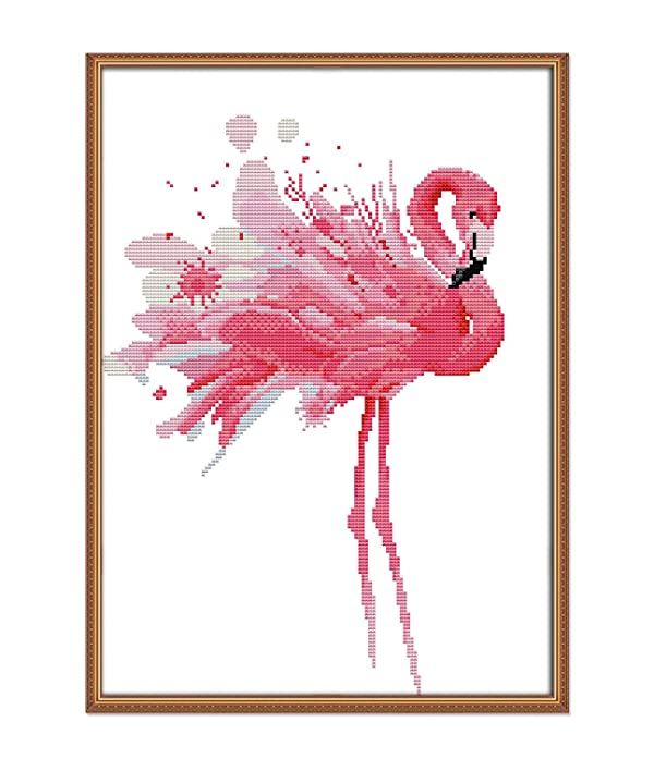 Cross Stitch Stamped Kits Pre-Printed Cross-Stitching Starter Patterns for Beginner Kids or Adults,Needlepoint Embroidery Kits Flamingos for Home Decor (Color: Stamped 13.6×18.2inch, Tamaño: 13.6x18.2 inch)