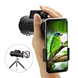 10x52 Monocular Scope,SGODDE High Powered Scope,Dual Focus Prism Zoom Telescope,Low Light Night Vision Prism Scope for Birds Wildlife Viewing Hunting Concert(with Tripod & Phone Adapters)