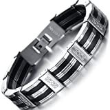 OSTAN Men's Stainless Steel Chain Link Bracelet (Color: Black)