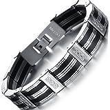 OSTAN Men's stainless steel Chain Link Bracelet (Color: Black)