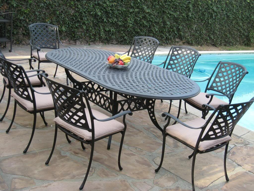 Cast Aluminum Patio Furniture 9 Pc Extension Oval Dining