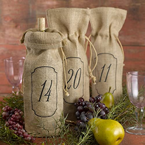Burlap Wine Bags For Table Numbers 1-20