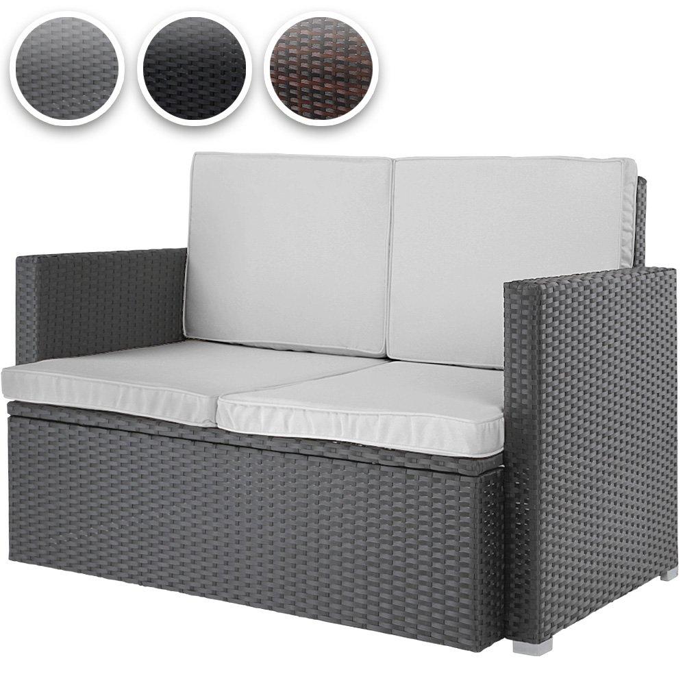 Polyrattan Sofa Loungesofa Gartensofa Polyrattansofa mit gemütlichen Sitzkissen 117x65x75cm in 3 verschiedenen Farben jetzt kaufen