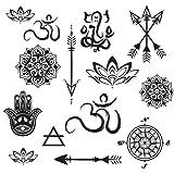 Temporary Yoga Tattoo Set - Mini Mandala, Lotus, Hamsa, Aum, Arrows, Compass - Yoga Gifts - 28 Total Semi-Permanent Tattoos - Cut Apart and Share - Sheet 8