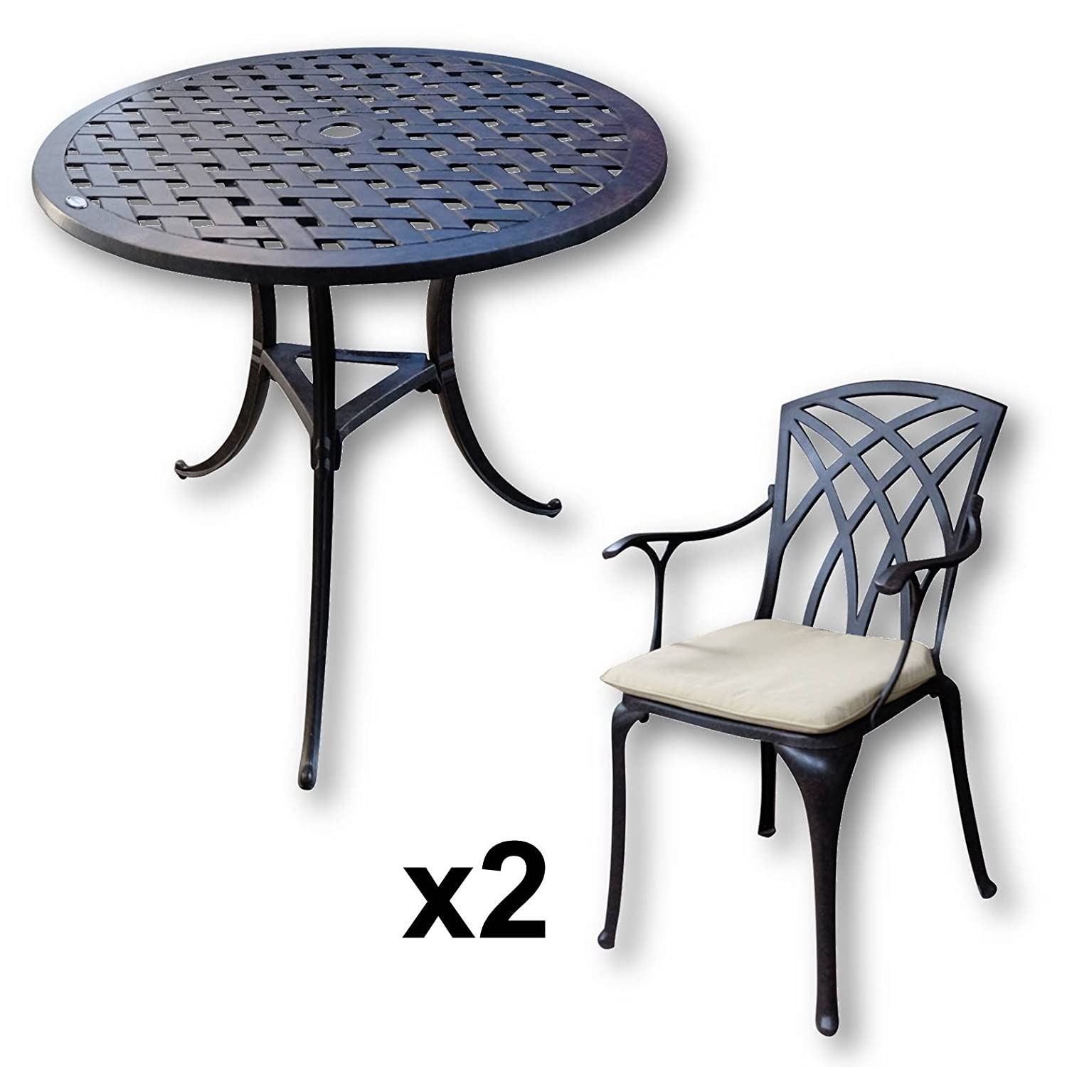 lazy susan betty bistrotisch mit 2 st hlen rundes gartenm bel set aus metall antik bronze. Black Bedroom Furniture Sets. Home Design Ideas