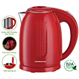 Ovente 1.7L Electric Kettle, Double Wall 304 Stainless Steel Water Boiler, Auto Shut-Off and Boil-Dry Protection, Stay-Cool Exterior, BPA-Free, Cordless, Red (KD64R)