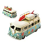 Ace Select Toy Camper Van 6.3 Inches Worn Style Retro Metal Classic T1 Camper Van Beach Bus Toy Model - Ideal Birthday Surprise for Boyfriend (Color: Blue)