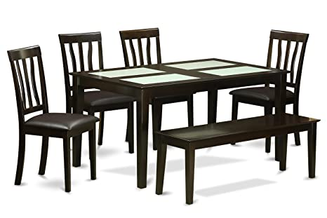 East West Furniture CAAN6G-CAP-LC 6-Piece Kitchen Table Set with Bench