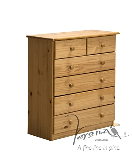 Verona Design Verona Chest Of Drawers With Solid Antique Pine Wood Finish