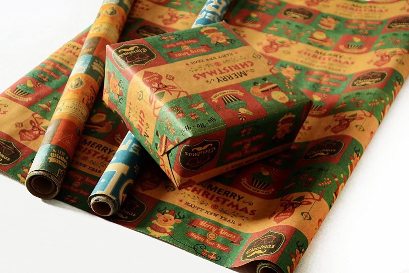 Retro Prints CHRISTMAS KRAFT WRAPPING PAPER (30 inches x 15 feet) 4