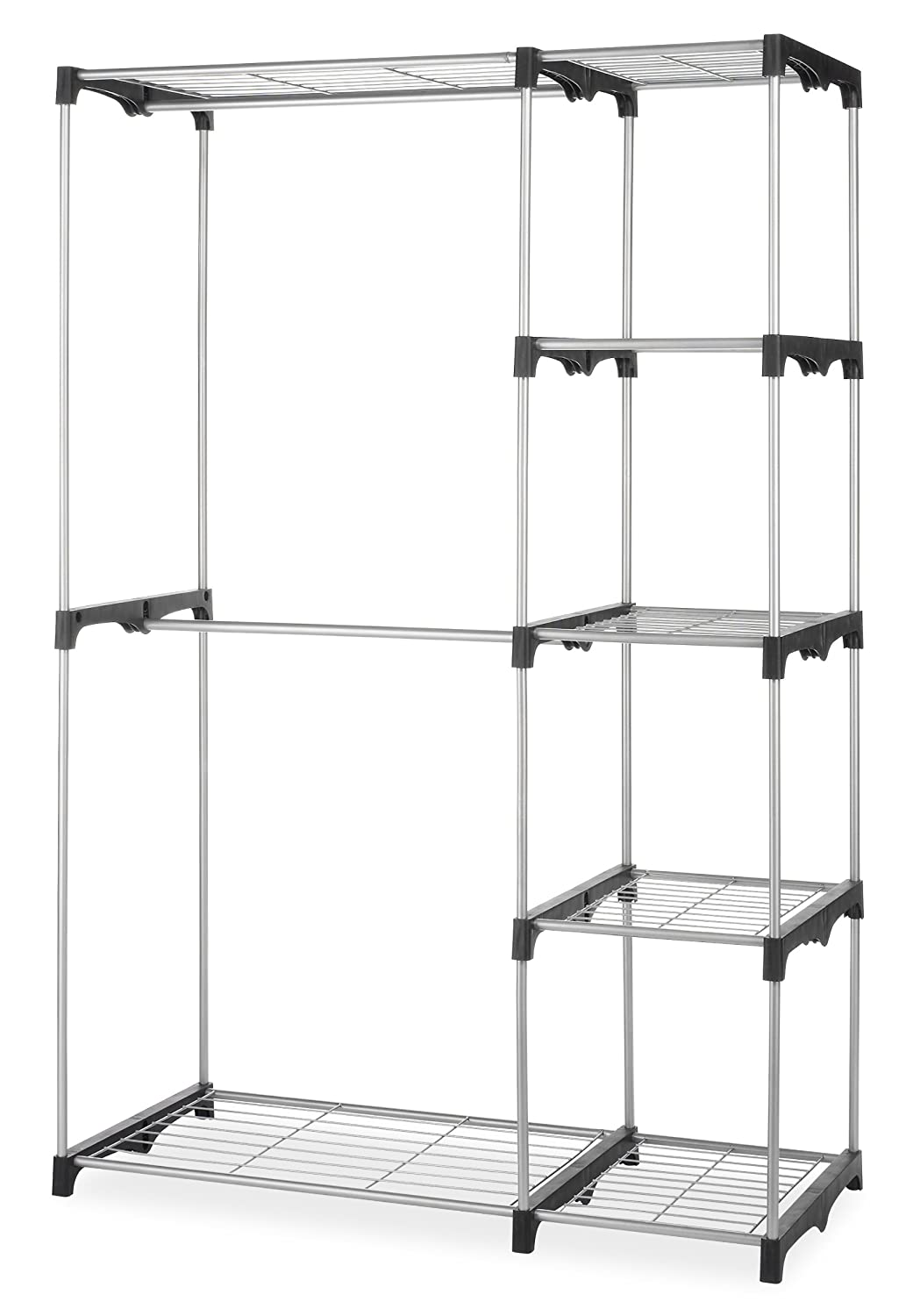 whitmor double rod closet system organizer wardrobe portable clothes rack holder ebay. Black Bedroom Furniture Sets. Home Design Ideas