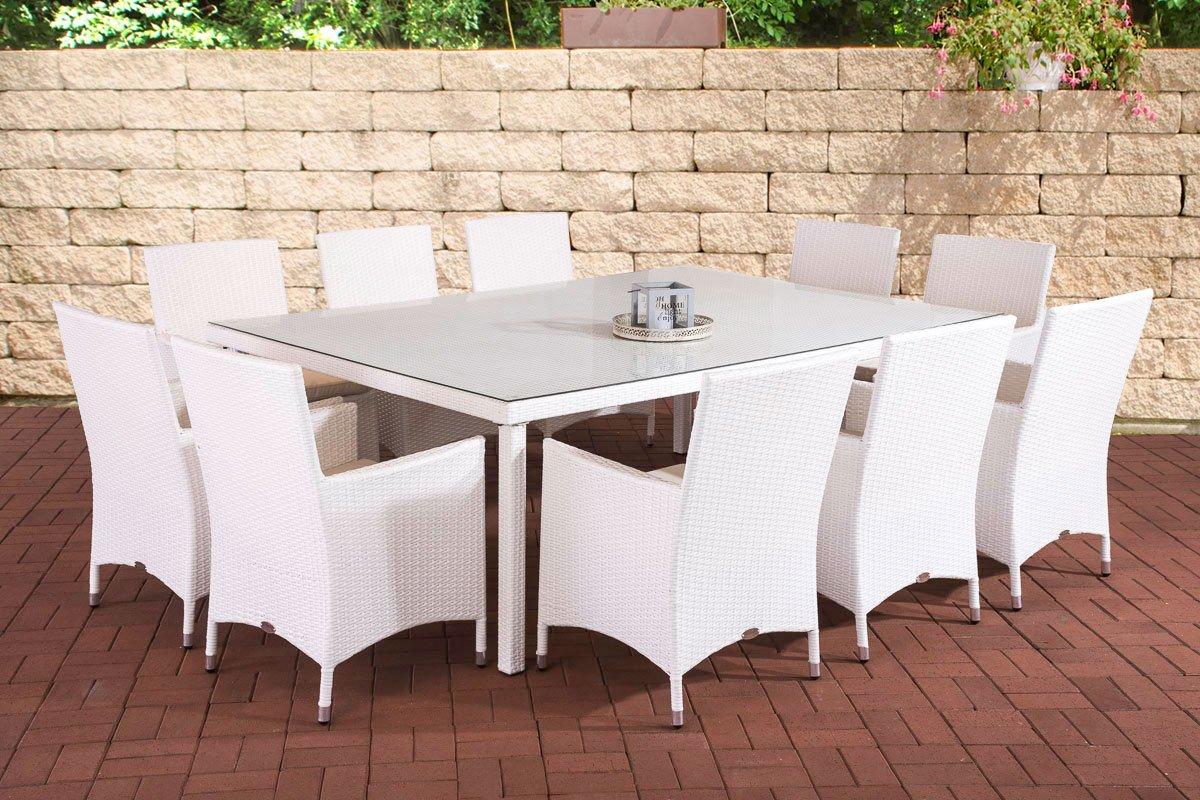 CLP Poly-Rattan Garten Sitzgruppe TROPEA (10 x Polyrattan Stuhl Julia + Tisch 210 x 50 cm) INKL. bequemen Sitzauflagen, 4 Rattan-Farben wählbar weiß