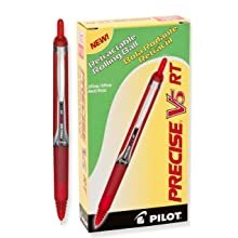 Pilot Precise V5 RT Retractable Rolling Ball Pens, Extra Fine Point, Red Ink, Dozen Box (26064)