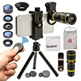 Godefa Cell Phone Camera Lens with Tripod+ Shutter Remote,6 in 1 18x Telephoto Zoom Lens/Wide Angle/Macro/Fisheye/Kaleidoscope/CPL, Clip-On lense Compatible for iPhone X 8 7 6s Plus, Samsung and More (Color: 6 in 1 phone lens)