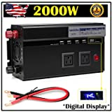 Digital Display 2000W Car Power Inverter DC 12V to AC 110V Modified Sine Wave Converter wtih 4 USB Ports & Adapters for Device Electronic Charging - 2 Year Warranty