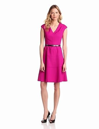 Anne Klein Women's Cap Sleeve Solid Dress, Peony, 2