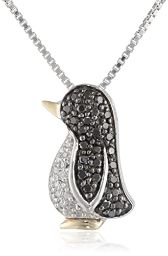 XPY-Sterling-Silver-and-14k-Yellow-Gold-Black-and-White-Diamond-Penguin-Pendant-Necklace-0-23-cttw-Black-Diamonds-and-I-J-Color-I3-Clarity-18-