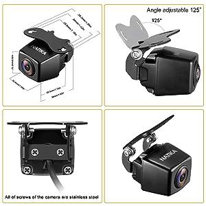 NATIKA 720P Backup/Front View Camera, IP69K Waterproof Starlight Night Vision Full HD and 210 Degrees Wide View Angle Reverse Rear View Backup Camera for Cars Jeep Pickup Trucks SUV RV Van