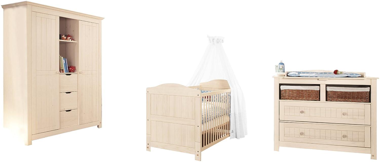 Pinolino 101633BG - Finja Kinderzimmer groß, 3-teilig mit Kinderbett, breiter Wickelkommode und großem Kleiderschrank (ohne Textilien)