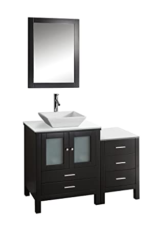 Virtu USA MS-4446-S-ES Brentford 46-Inch Single Sink Bathroom Vanity Set with White Stone Countertop, Chrome Faucet, Espresso Finish