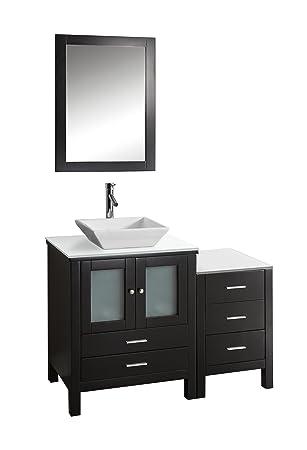 Virtu USA MS-4446-S-ES Brentford 46-Inch Single Sink Bathroom Vanity Set with White Stone Countertop, Chrome Faucet, Espresso Finish
