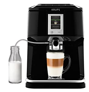 Krups EA850B One Touch Cappuccino Vollautomat mit Touchscreen Farbdisplay, schwarz / edelstahlÜberprüfung und Beschreibung