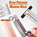 Matoen Ultra Precision Marking Ruler Scale Ruler T-type Hole Stainless Scribing Stainless Steel Ruler Precision Marking T-Rule Rules Marking Rule General Tools (C) (Color: Silver, Tamaño: C)