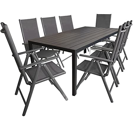 Wohaga® 9tlg. Sitzgarnitur, Aluminium Gartentisch Tischplatte aus Polywood Schwarz 205x90cm, 8x Aluminium-Hochlehner mit 2x2 Textilenbespannung, 7-fach verstellbar, klappbar, anthrazit - Sitzgruppe Gartengarnitur Gartenmöbel
