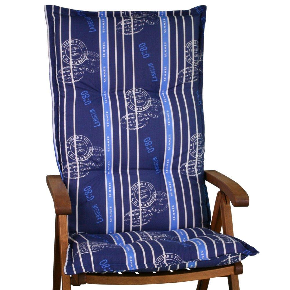 6 Gartenmöbel Auflagen für Hochlehner Sun Garden Prato 20578-100 blau gestreift