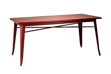Tavolo da pranzo rettangolare fissa in stile industriale moderno con busta in legno massiccio e struttura in acciaio colore rosso