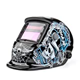 Flexzion Welding Helmet Auto Darkening Mask Hood (Speed Shop), Solar Powered Shield Equipment with Weld & Grind Modes Manual Adjustable Shade Range 9-13 for Arc Gas Tig Mig Mma Grinding Plasma Cut (Color: Monster on Black)