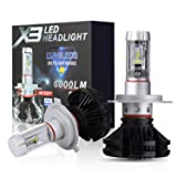 PLW X3 Auto Led Headlight lighting System, H4 5600K, IP67 Spec with Waterproof 360 Degree Adjustable Socket and Efficient Turbine Cooling System