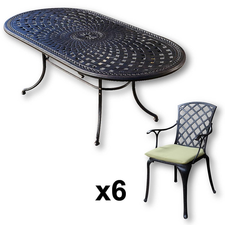 Lazy Susan – CATHERINE 210 x 105 cm Ovaler Gartentisch mit 6 Stühlen – Gartenmöbel Set aus Metall, Antik Bronze (EMMA Stühle, Grüne Kissen) günstig online kaufen