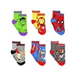 Super Hero Adventures Avengers Boys 6 pack Socks with Grippers (2T-3T, Multi) (Color: Multicolor, Tamaño: 2T-3T)