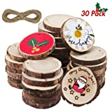 ATDAWN Natural Wood Slices with Holes, 30 Pcs 2.4-2.8 Inches Unfinished Wooden Circles, Craft Wood kit, Christmas Ornaments DIY Crafts