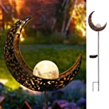 Homeimpro Garden Solar Lights Pathway Outdoor Moon Crackle Glass Globe Stake Metal Lights,Waterproof Warm White LED for Lawn,Patio or Courtyard (Bronze) (Color: Bronze)