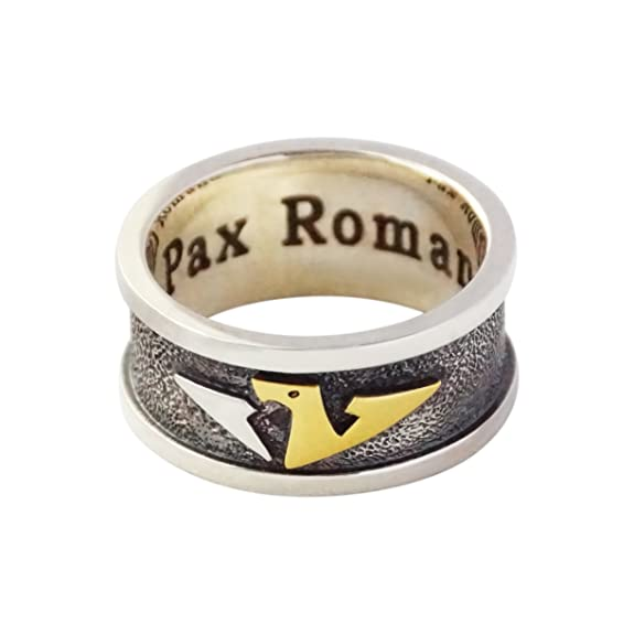 Argentvm Avrvm - Pax Romana - Men's Ring 925 Sterling Silver Yellow Gold 14 carat (585)