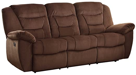 Homelegance 8556CH-3 Textured Microfiber Double Reclining Sofa, Brown