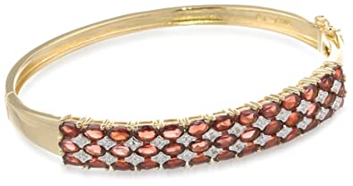 Yellow Gold Plated Sterling Silver Garnet and Diamond Accent Bangle Bracelet $169.00