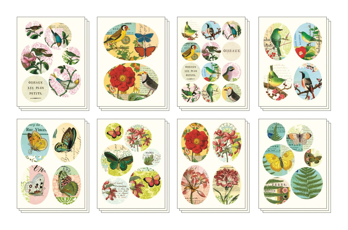 Cavallini Decorative Stickers Flora & Fauna