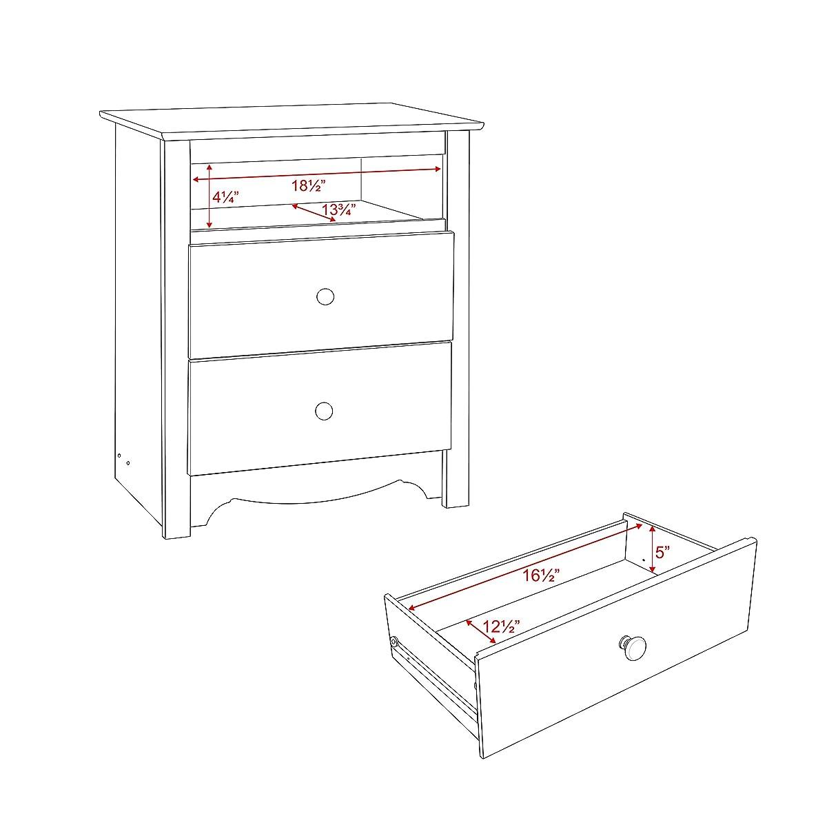 White Monterey Tall 2 Drawer Nightstand with Open Shelf