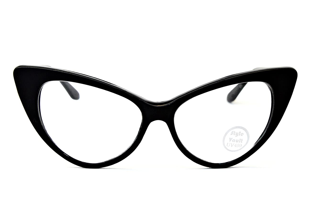 WM516-vp Style Vault Cateye Clear Lens Eyeglasses 1