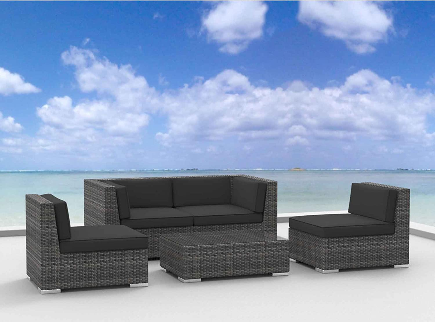 www.urbanfurnishing.net Urban Furnishing - RIO 5pc Modern Outdoor Backyard Wicker Rattan Patio Furniture Sofa Sectional Couch Set - Charcoal at Sears.com