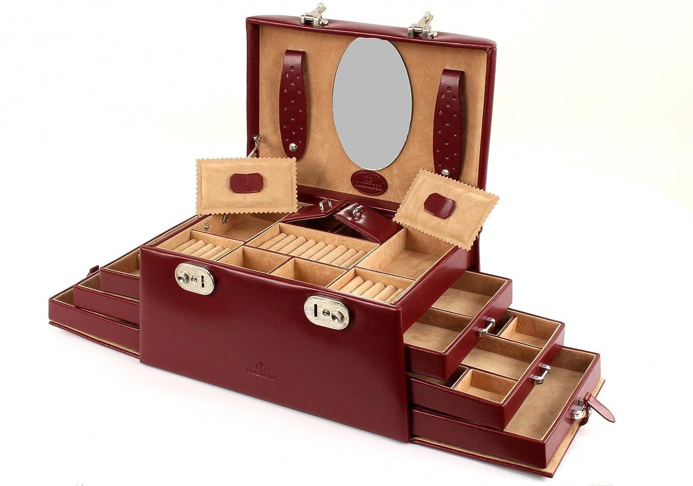 Windrose Merino Schmuckkoffer mit 6 Seitenschubladen 0 rot günstig bestellen