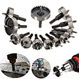 Drillpro Hole Saw Kit HSS Drill Bit Hole Saw Set for Stainless, Metal, Wood, Set of 13 Pcs, 5/8