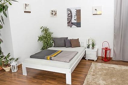 Einzelbett - Gästebett Kiefer massiv Vollholz weiß lackiert 75, inkl. Lattenrost - Abmessung 140 - 200 cm